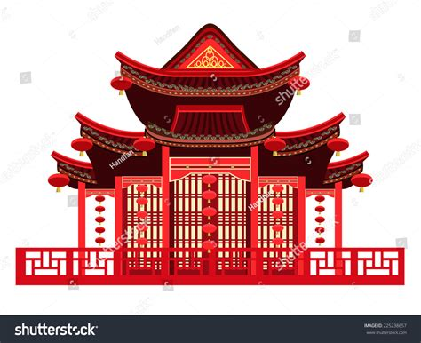 chinese house music traditional chinese house typical chinese lanterns stock vector 225238657 shutterstock
