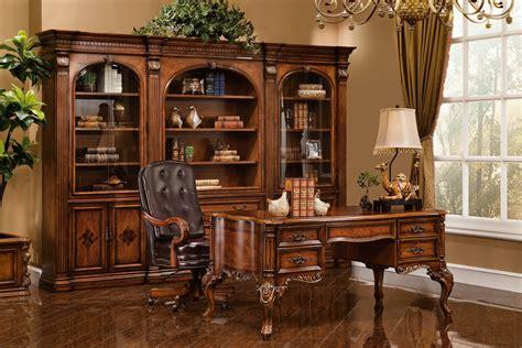 executive desk antique walnut  gold accent finish