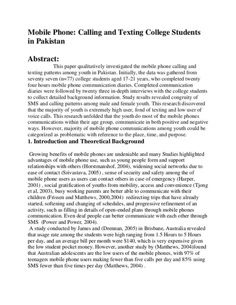 Cell Phones In School Essay by Mobile Phone Calling And Texting College Students In Pakistan