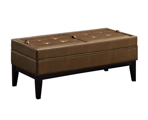42 inch leather ottoman amazon com simpli home castlerock rectangular storage