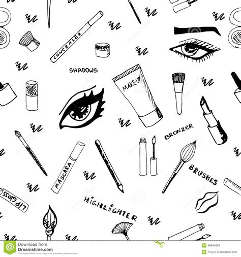 makeup pattern makeup seamless pattern vector illustration
