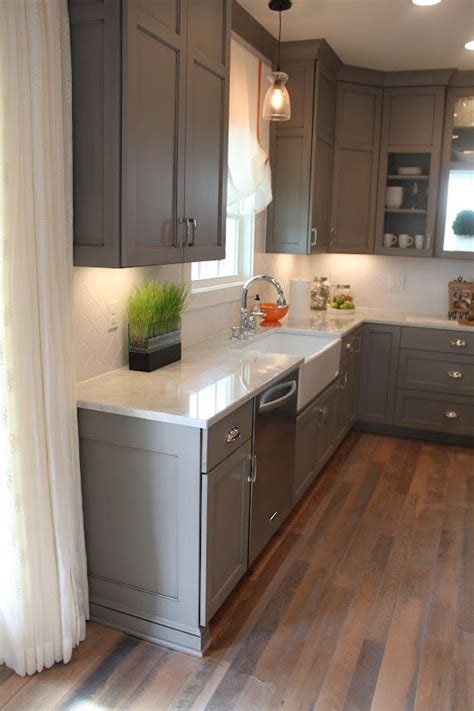 gray kitchen cabinets pinterest gray cabinets herringbone tile walnut farmhouse sink inspiring interiors pinterest