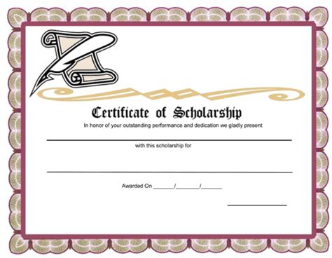 scholarship certificate unique award template exle for certificate of