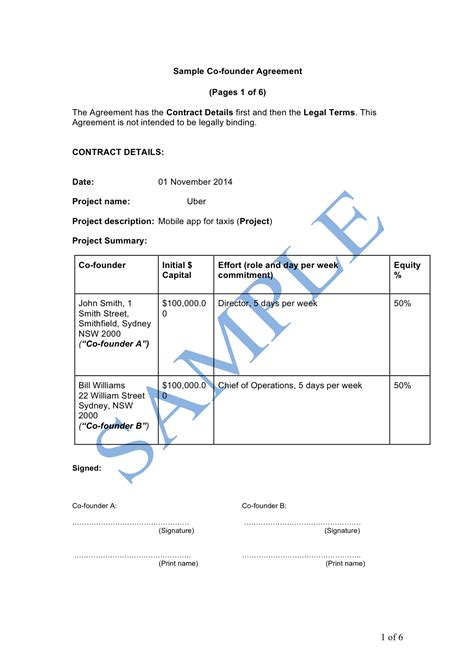 co founder agreement template co founder agreement sle lawpath