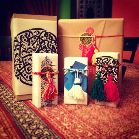arabic calligraphy inspired gift wrapping for eid gifts