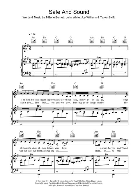 tutorial guitar safe and sound taylor swift safe and sound piano sheet music easy safe