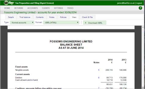Companies House Accounts Template by Taxfiler Tax Accounting Software