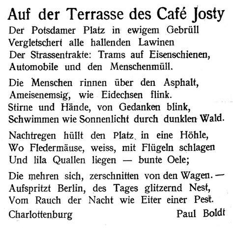 terrasse cafe josty lyrik 2 weitere gedichte paul boldt