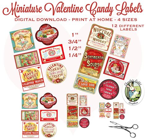 doll house download miniature dollhouse valentines day labels digital download