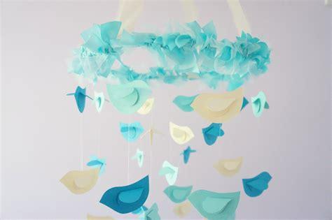 Turquoise Nursery Decor Aqua Nursery Mobile Birds In Aqua Ivory Turquoise Nursery Decor Baby Shower Gift On Luulla
