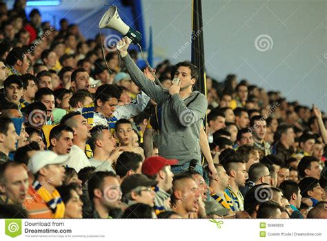 football supporters crowd  leader editorial stock photo