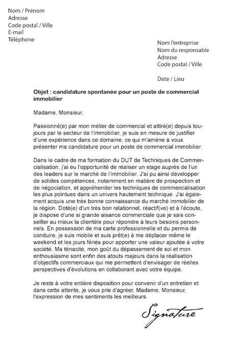 Lettre De Motivation De Negociateur Immobilier Lettre De Motivation Immobilier Mod 232 Le De Lettre