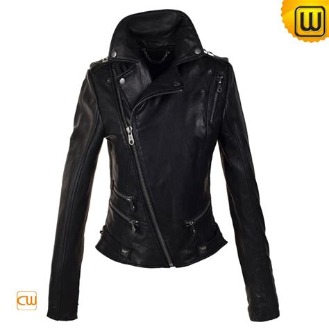 black motorbike jacket women black cropped motorcycle leather jacket cw608114