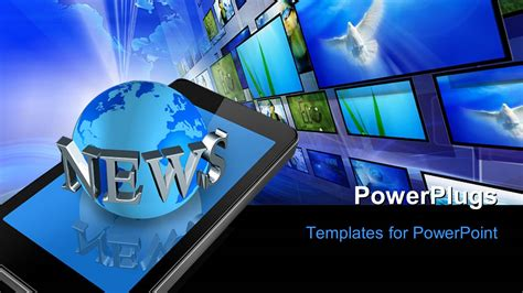 Powerpoint Template Three Dimensional Mobile Phone And News World Globe With Keyword And News Powerpoint Template