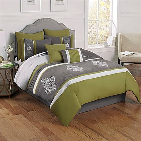 montclair 8 piece comforter set in green grey bed bath