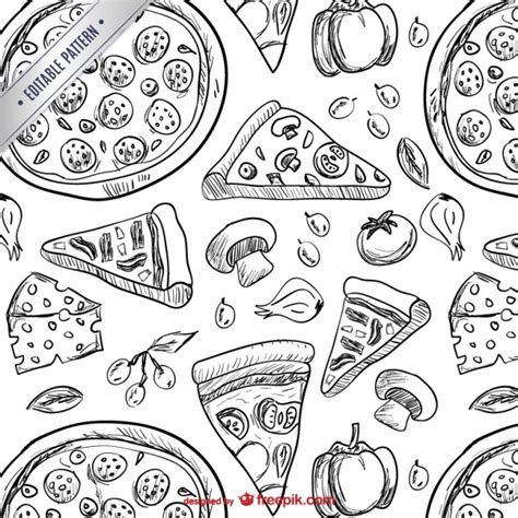 white pattern drawing pizza drawings pattern vector free download