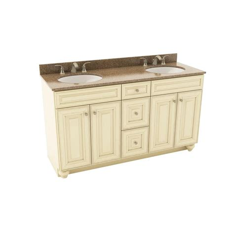 Silestone Bathroom Vanity American Woodmark 61 In Vanity In Hazelnut With Silestone Quartz Vanity Top In