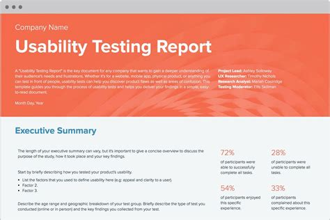 usability study template usability testing report template and exles ux