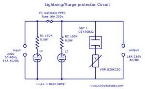 lightning surge protector circuit using gas discharge tube