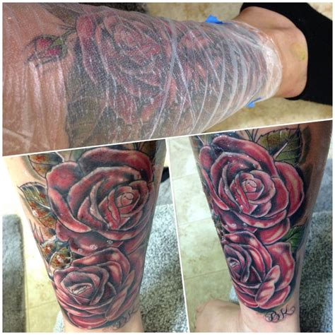 roses leg cover up tattoo tattoos pinterest