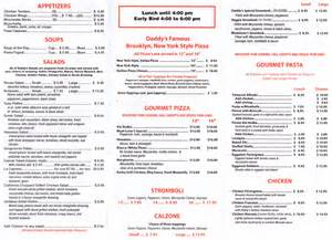 Italian Pizza Kitchen Menu by Menu For Daddy S Italian Cafe 1319 E Commercial Blvd