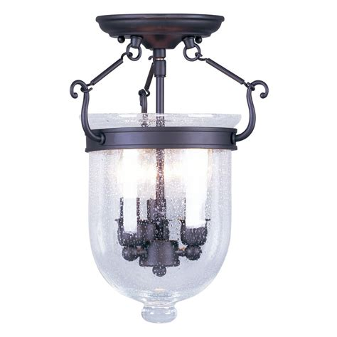 Ceiling Lights Semi Flush Mount Shop Livex Lighting Jefferson 10 In W Bronze Semi Flush Mount Light At Lowes