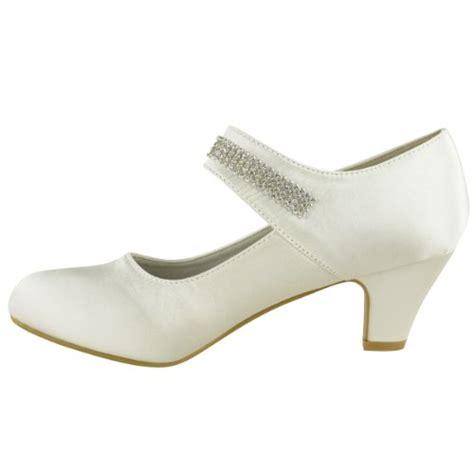 womens wedding diamante prom low mid high heel
