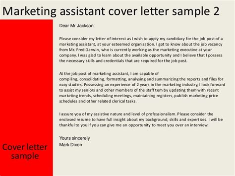 Advertising Sales Assistant Cover Letter by Marketing Assistant Cover Letter