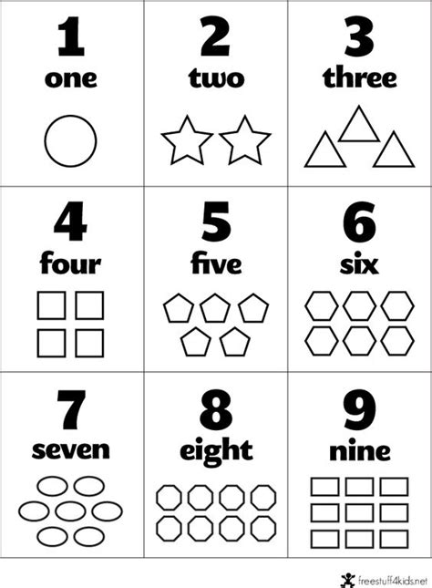 printable number shapes free preschool flashcards numbers and shapes teaching