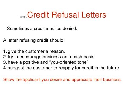 Refusal Credit Letter Credit And Collection Letters