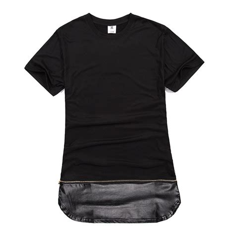 T Shirt Zipper Black zip pu leather mens extended t shirt black white