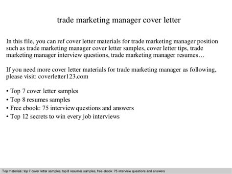 Trade Marketing Manager Cover Letter by Trade Marketing Manager Cover Letter