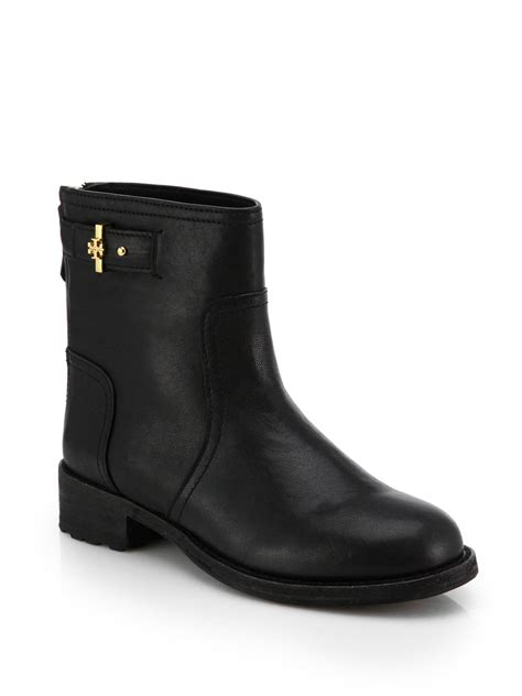 burch black boots lyst burch selena leather ankle boots in black