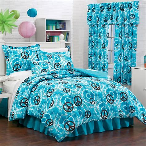peace bedding tie dye peace hippie 3pc comforter sham bedskirt set