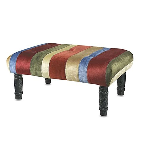 Multi Colored Velvet Striped Ottoman Bed Bath Beyond Multi Colored Ottoman
