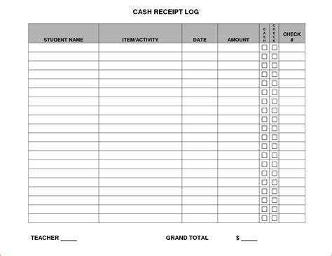 Free Receipt Log Template by Receipt Log Receipt Template
