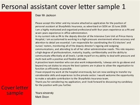 cover letter for personal assistant personal assistant cover letter