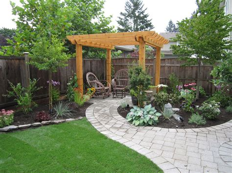 Lowes Backyard Ideas Appealing Wooden Pergola Installed Above Classic Nuanced Outdoor Sitting Space Covering With