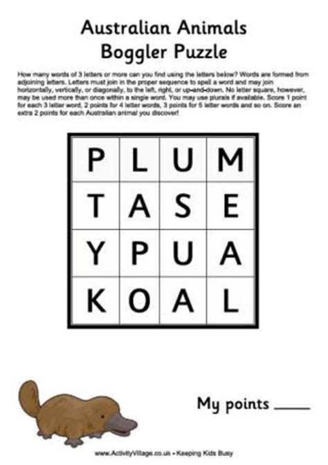 australian animal word search puzzle australia puzzles for kids