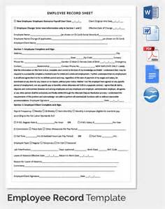 Employee Sheet Template by Employee Record Templates 32 Free Word Pdf Documents