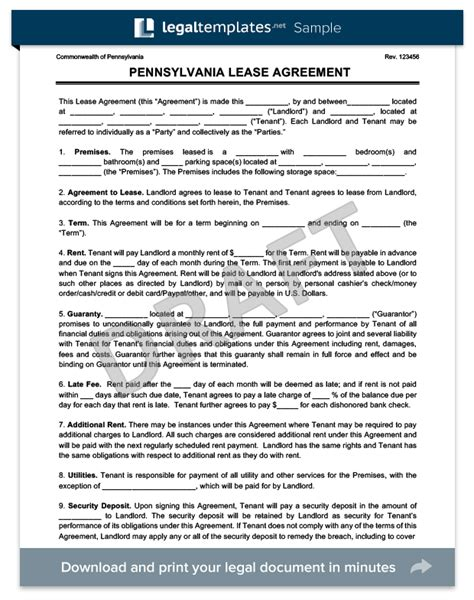 Pennsylvania Residential Lease Agreement Create Download Pa Residential Lease Template