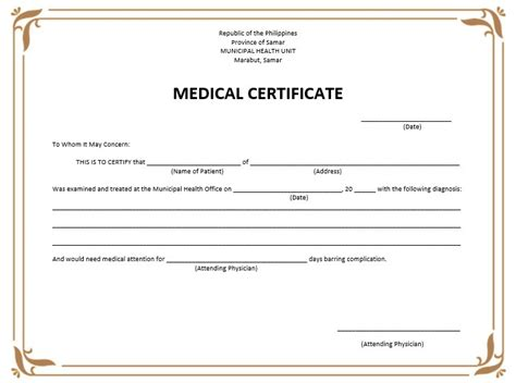 8 free sle medical certificate templates printable