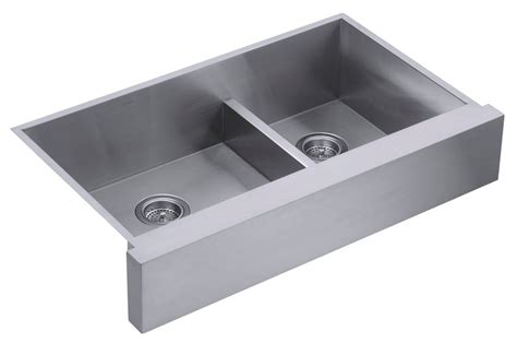 kohler stainless steel farmhouse sink kohler k 3945 na vault undercounter offset smart divide