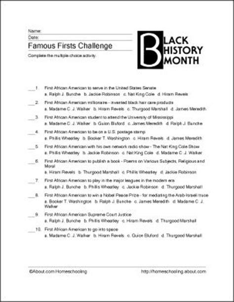 Black History Month Worksheets by Free Black History Worksheets Lesupercoin Printables