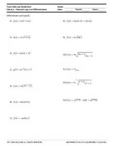 worksheet differentiation of natural logarithms
