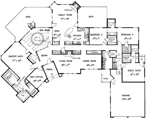 5 bedroom floor plans 1 story floor plans aflfpw21128 1 story european home with 5