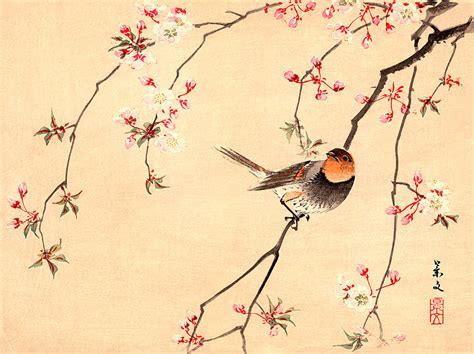 printable japanese art bird and flower japanese art red avadavat and cherry fine art