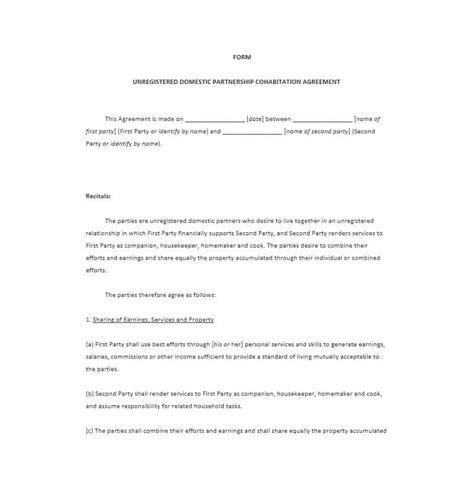 Free Printable Cohabitation Agreement