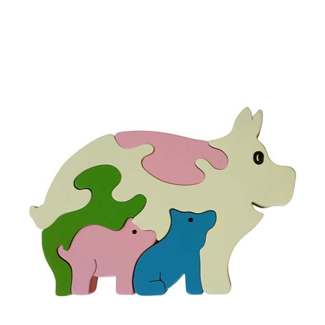 Puzzle Animal pig wooden animal puzzle jigzoos