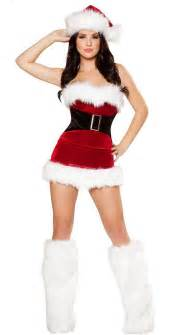 Sexy christmas costume red velet fur trim strech mrs claus santa